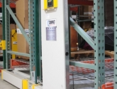 push button automatic powered end panel activrac mobilized pallet racking