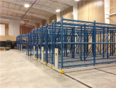 empty mobilized pallet racking ready to store in armory