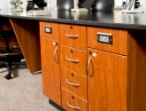 drawers cabinets and power source casework for research lab