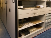 powered mobile shelving with drawers