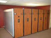 high density shelving with rollok doors