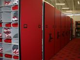 football locker room storage on high density mobile shelving