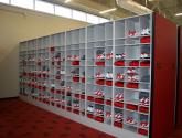 football mobile shelving storage for locker room equipment