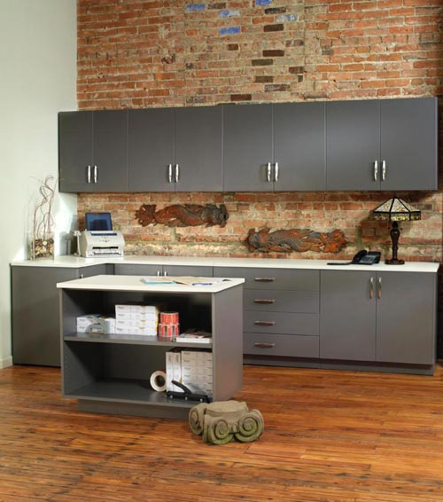 Modular Millwork Cabinets Drawers And Countertops In Breakroom