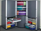 Rotating Shelves and Drawers for Multimedia Cabinets Storage