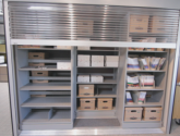 bi-file shelving with doors that lock