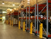 mechanical assist pallet rack in miltary warehouse space
