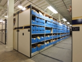 Police evidence storage in compact shelving