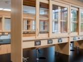 slide open cabinets and power supply on laboratory casework