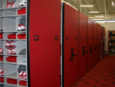 football locker room storage on high density mobile shelving