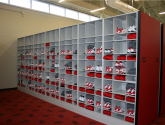 football mobile shelving storage for locker room equipment