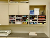 Modular Millwork Cabinets Attach Right to the Wall in a mail center