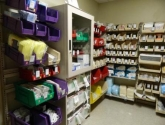 Color Coded Plastic Bin Storage System Supply Shelving