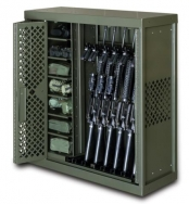 gun rack with heavy duty cart designed to hold weapons and equipment of various sizes